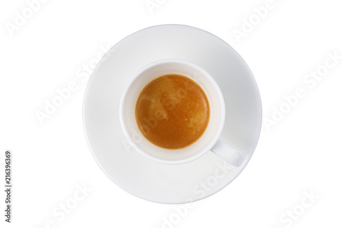 Deurstickers koffiebar espresso in a white cup on a white background isolated