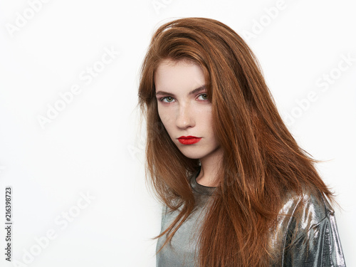 Headshot Of Young Beautiful Excited Woman With Gorgeous Natural Red