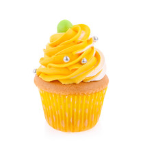Yellow Cupcake Isolated On Whi...