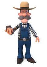 3d Illustration Farmer And Smo...