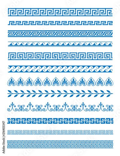 Photo  Vector illustration set of Greek patterns and ornaments on white background