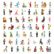 People Characters Collection. Cartoon Set Different Professions in Various Poses. Policeman, Businessman, Doctor, Fireman Man and Woman. Vector illustration