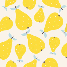 Yellow Seamless Pears Pattern
