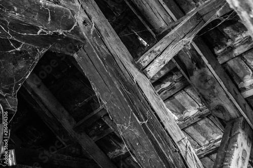 Aluminium Prints Old abandoned buildings alte Balken