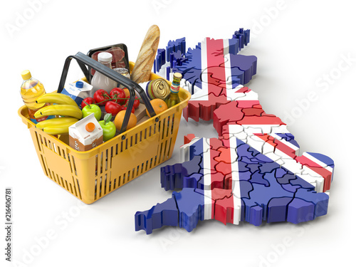 Poster Market basket or consumer price index in UK Great Britain. Shopping basket with foods on the map of UK Great britain.