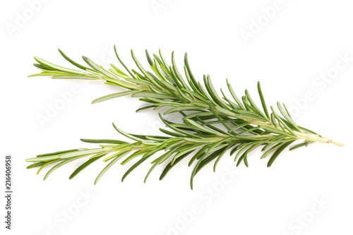 Foto op Plexiglas Aromatische Rosemary spice on the white background.