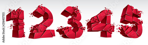 Fotografía  3D realistic red numbers set 1 2 3 4 5 vector illustration, breaking to pieces digits over white symbols collection