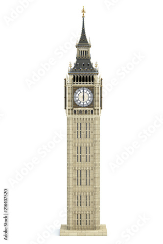 Big Ben Tower the architectural symbol of London, England and Great Britain Isolated on white background Canvas Print