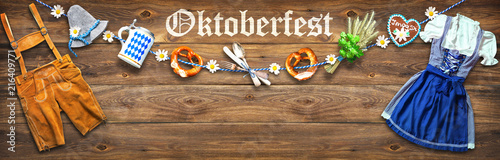 Poster Hoogte schaal Rustic background for Oktoberfest