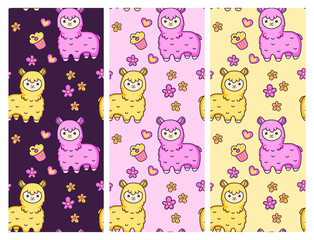 Seamless vector patterns with cute alpacas on different backgrounds. Design for fabric, wallpaper, textile, decor, postcard, paper.
