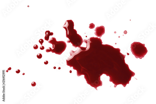 Fotografija  Drops of blood, isolated on white background