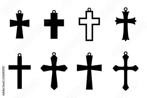 Obraz na płótnie Set of the black earring crosses