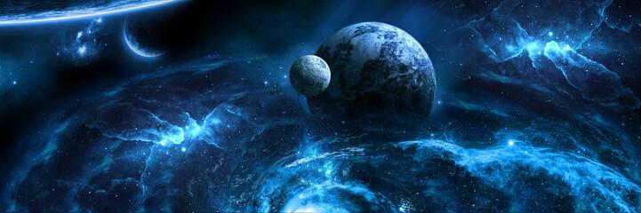 бескрайний космос голубая планета