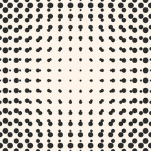 Vector Halftone Circles Seamless Pattern. Half Tone Dots In Sphere Form