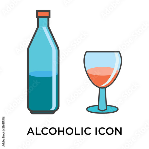 Fotografía  Alcoholic icon vector sign and symbol isolated on white background, Alcoholic lo