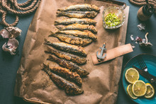 Grilled Sardines On Baking Tra...