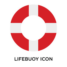 Lifebuoy Icons Isolated On Whi...