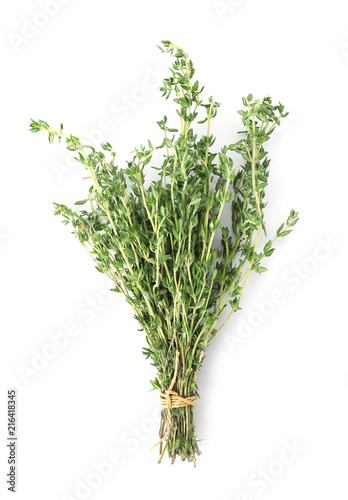 Pinturas sobre lienzo  Bunch of thyme on white background, top view. Fresh herb