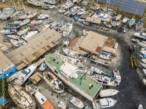 Foto op Aluminium Poort Aerial view of dry docks and shipyard in Olhao, Portugal