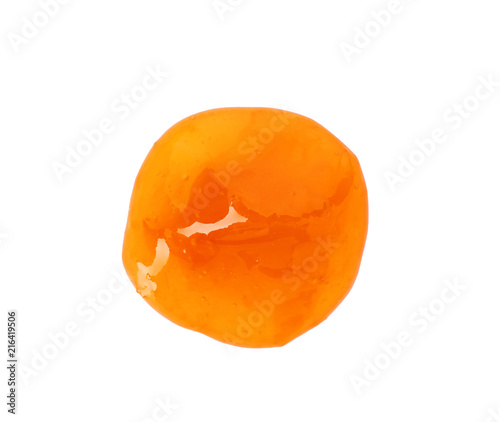 Tasty apricot jam on white background, top view