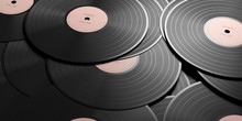 Vinyl Records LP With Pink Label, Full Background. 3d Illustration