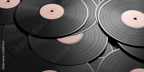 Zdjęcie XXL Vinyl records LP with pink label, full background. 3d illustration