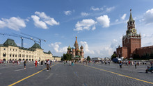 The Main Square Of Moscow Russia, Red Square Between Gum Department Store And Kremlin.