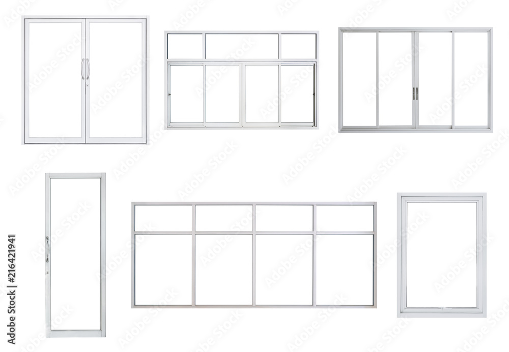 Fototapety, obrazy: Real modern windows set isolated on white background, various office frontstore frames collection for design, exterior building aluminium facade element
