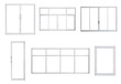 canvas print picture - Real modern windows set isolated on white background, various office frontstore frames collection for design, exterior building aluminium facade element