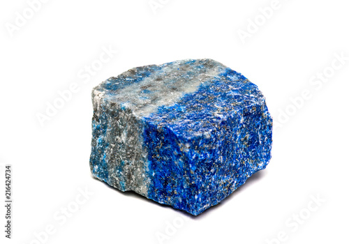 Lazurite on rock mineral isolated on white background