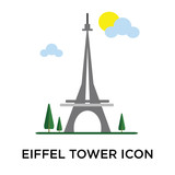 Fototapeta Fototapety z wieżą Eiffla - Eiffel tower icon vector sign and symbol isolated on white background, Eiffel tower logo concept