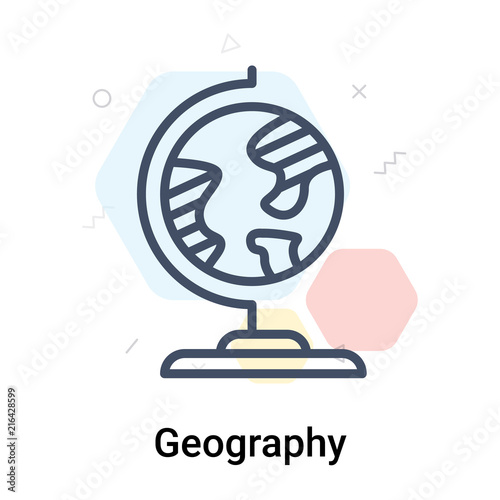 Fotografia  Geography icon vector sign and symbol isolated on white background, Geography lo