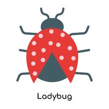 Ladybug Icon Vector Sign And Symbol Isolated On White Background, Ladybug Logo Concept
