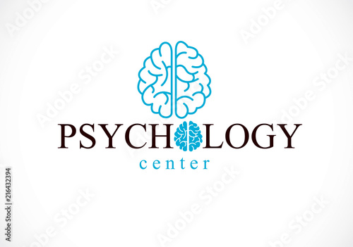 Fotografiet  Human anatomical brain, mental health psychology conceptual logo or icon, psychoanalysis and psychotherapy concept