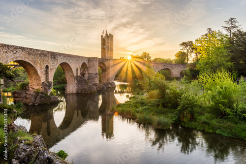 The Medieval bridge of the Besalu (Catalonia, Spain)