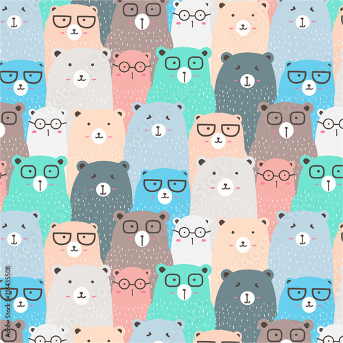 Valokuva  Hand Drawn Bears Vector Pattern Background