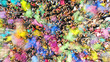 canvas print picture - Aerial top view of a Holi Colors Festival. Splash of paint in a crowd of people view above.