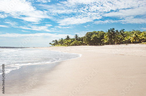 Fototapeta Beautiful paradise white sand beach of Playa Carmen, near Santa Teresa on the Ni