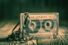 Old One Cassette Tape With An Extracted Tape