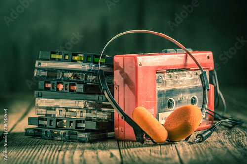 Stampa su Tela Retro cassette tape with walkman and headphones