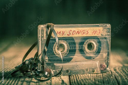 Fotografía  Old one cassette tape with an extracted tape