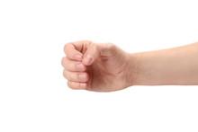 Male Hand, Holding Something, Isolated On White Background