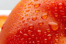 Red Macro Tomato With Water Drops