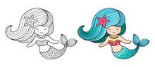 Mermaid. Cute Cartoon Characte...