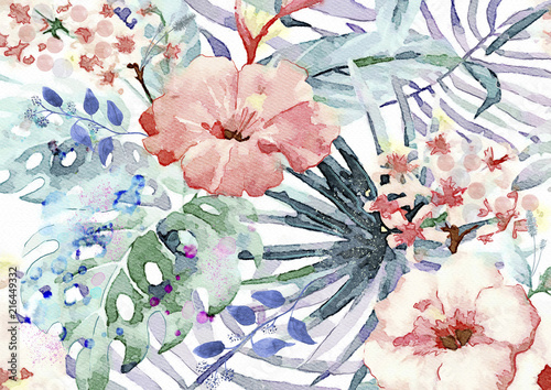 Exotic leaves and flowers watercolor bacground