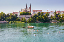 Scenic View Of Rhine Embankment With Ferry Boat In Basel, Switzerland