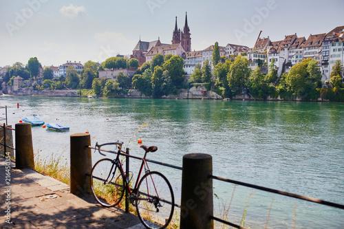 View of Rhine embankment in Basel, Switzerland Wallpaper Mural