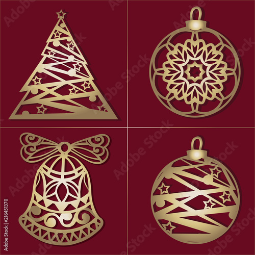 Set of openwork Gold Christmas decorations. Laser cut paper christmas bell, Christmas tree, toy . Christmas decorations for wood carving, paper ... See More
