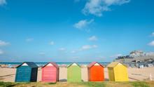 Colorful Beach Huts On Peniscola Beach, Castellon, Spain