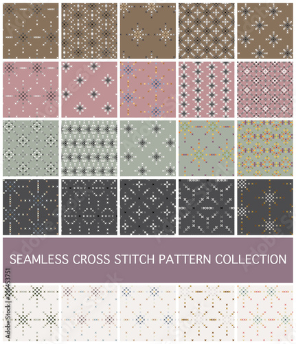 Türaufkleber Künstlich Seamless Abstract Cross Stitch Embroidery Pattern Set